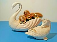 "SERENE LENOX PORCELAIN SWAN+BIRD ☆ 8.5"" L × 6.5"" H ☆DECORATIVE LENOX COLLECTIBLE"