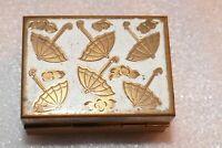VTG Tiny Brass Rectangular Trinket Box Umbrella Flowers w/ original Rain Hat