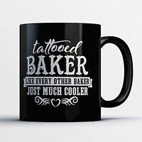 Baker Coffee Mug - Tattooed Baker - Adorable 11 oz Black Ceramic Tea Cup - Cute