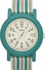 NEW-TIMEX GREEN TONE INDIGLO,GREEN+WHITE CLOTH BAND,STRAP WATCH-T2N491