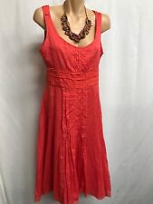 THERAPY SIZE 10 GORGEOUS CORAL PINTUCKED SILK DRESS