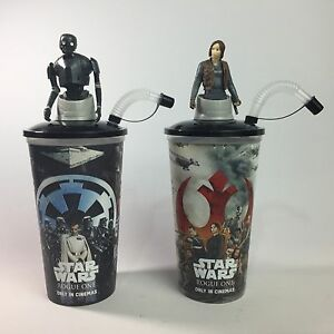 Star Wars Rogue One Cinema Promo Cups With Character Toppers - Jyn Erso & K-2SO