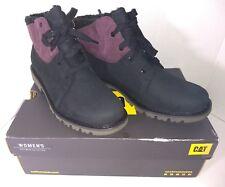 Women's Caterpillar CAT Leather Lace Up Boot Faux Fur NEW size 11 Purple/Black