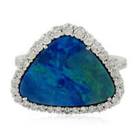 Real Diamond 3.19ct Natural Opal Gemstone Ring 18k White Gold Fine Ring Jewelry