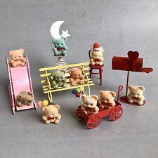 VTG Flocked Fuzzy MINI TEDDY BEARS On Metal Toys Figures LOT 7 Bear COLLECTIBLES