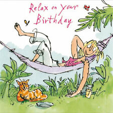 Lounging Around Hammock Cat Relax on Your Birthday Card for Her By Quentin Blake