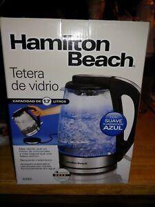 Hamilton Beach Glass Kettle 1L with Soft Blue Illumination