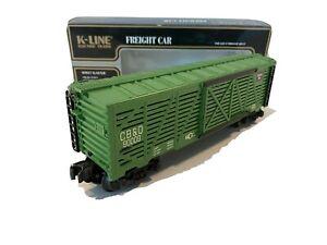 *NEW* 1996 K-LINE COLLECTOR'S CLUB TRAINS -CB & Q LIVESTOCK CAR- O-SCALE K-90009