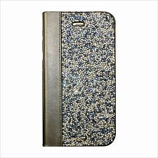 Blue AB Silver Rock Made with Swarovski Crystal Bling Wallet Flip Case Galaxy S8
