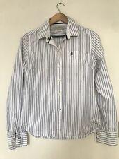 JACK WILLS White & Blue Stripe Fitted Womens Shirt UK 12