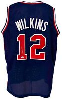 Atlanta Hawks Dominique Wilkins Autographed Pro Style Team USA Jersey JSA Aut...
