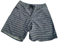 PATAGONIA Shorts Mens 34 Grey/Yellow Swim Trunks Board Shorts Striped Drawstring