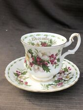 ROYAL ALBERT FLOWER OF THE MONTH  DECEMBER COFFEE Cup And Saucer 1st Quality