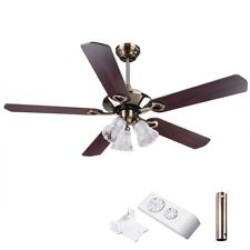 """70w 52"""" 1320mm 5 Blade Ceiling Fan With Light & Remote Reverse Airflow Bronze"""