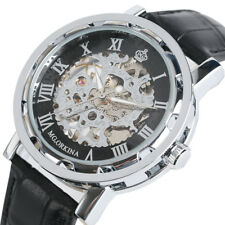 MG.ORKINA Genuine Leather Strap Men Hand-Winding Mechanical Skeleton Wrist Watch