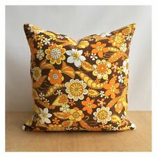 """Vintage  60s 70s Orange Psychedelic Fabric Cushion Cover VW 16"""" x 16"""""""