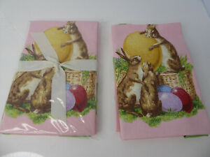 Set of 4 Williams Sonoma Easter Rabbit Bunny Dish Towels