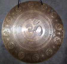 "Om Temple Gong ॐ Carved 20"" 3kg Meditation Yoga Chakra Therapy Hand Made Nepal"