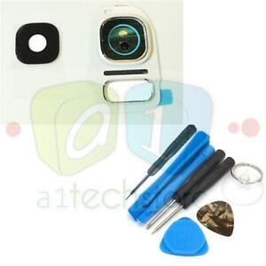 For Samsung Galaxy S7 & EDGE White Genuine Glass Camera Lens Cover Frame + Tools