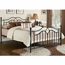 Queen Size Bed Frame Metal Headboard Footboard Bedroom Furniture Platform Modern