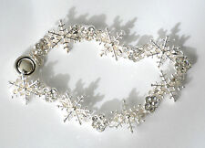 Snowflake Bracelet / Silver-tone w Tiny Clear Crystals / Magnetic Closure