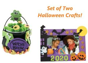 2 Halloween Kid's Craft Kits Witch Cauldron w/Frog & Magnetic Frame 15% Off $35+