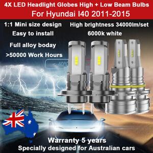 For Hyundai I40 2013 2014 4X 1:1 34000LM Headlight Globes High Low Beam Bulb Kit