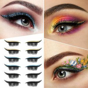 Reusable Fake False Eyeliner Eyelashes Shine Sticker Sequin Eye Shadow Wateproof