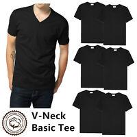 Gemrock Men 100% Cotton V Neck T Shirt Solid Black Short Sleeve Casual Tee S-4XL