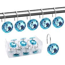 Bathroom Shower Curtain Hooks Decorative Crystal Rhinestones Hook Set 12pcs/lot