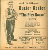 Advertising Newspaper Buster Keaton in The Play House Vaudeville Evansville 1921