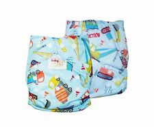 NEW! BABY CLOTH DIAPER (BLUE CONSTRUCTION, ONE SIZE FITS ALL)