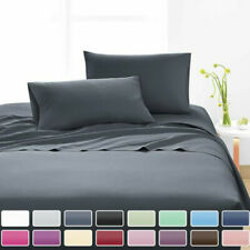 4PCS Fitted Flat Bed Sheet Set Pillowcase Bedding Single/Double/Queen/King Size