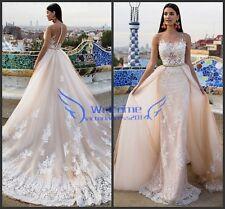 Detachable Skirt Gorgeous Wedding Dress Champagne Applique Bridal Gown 2 4 6 8++