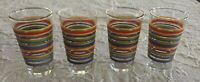"Lot of 4 Vintage Libbey Mambo Fiesta Drinking Glasses Clear Colorful 6"" Tall EUC"