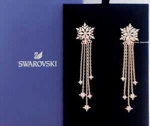 New SWAROVSKI Rose Gold Magic Sparkle Snowflakes Falling Stars Earrings 5566674