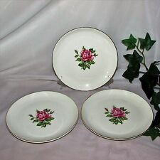 DOMINION CHINA ROSE BOWER BREAD CAKE PLATES LOT 3 22K GOLD 74-60 PINK CANADA