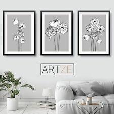 Set of 3 Grey Art Prints Sketch Peony Flower Floral MinimalPoster Picture Decor