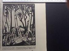 1940s Woodcut Print Pandanus Grove, Tahiti by Robert Gibbings