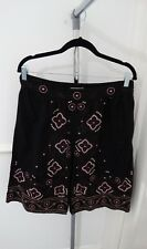 Ladies Cherokee Summer Beach Holiday Black Floral Godet Fit Flare Skirt Size 12