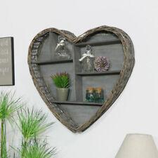 Rustic woven wicker heart display shelf wall mounted shelving country home decor