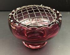 More details for cranberry coloured glass rose bowl
