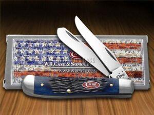 Case xx Mini Trapper Knife Jigged Navy Blue Bone Stainless Pocket Knives 07321