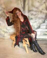 Gothic Pagan Wicca Ethno Tunika Kleid Kapuze Longshirt Elvish schwarz 36 38 40