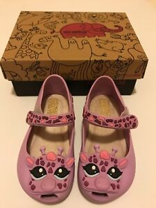 NEW Mini Melissa Ultragirl Giraffe Scented Mary Jane Shoes Toddler Purple Size 7