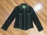 Equestrian Green Corduroy Jacket Full Zipper Size S