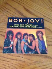 BON JOVI Livin' on a Prayer You Give Love a Bad Name 45 RPM w/EUROPE  Dates RARE