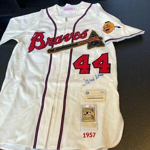 Hank Aaron Signed Authentic 1957 Milwaukee Braves Game Model Jersey Steiner COA