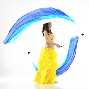Silk Veil Poi Throw Balls Belly Dance Yoga Accessory Props Scarf Chain Blue