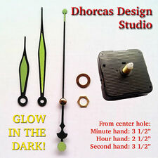 "(#018) Quartz Clock movement kit 1/2"" thread quiet motor, & 3 1/2"" luminous hand"